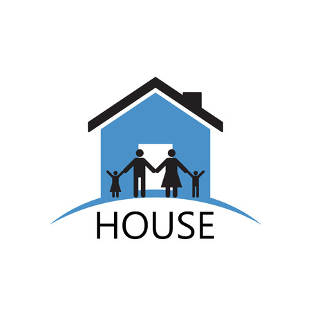 family together: House Building and family ,vector silhouette Icons and symbol Illustration