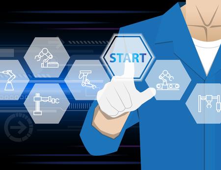 icono computadora: Inicie la industria de los robots
