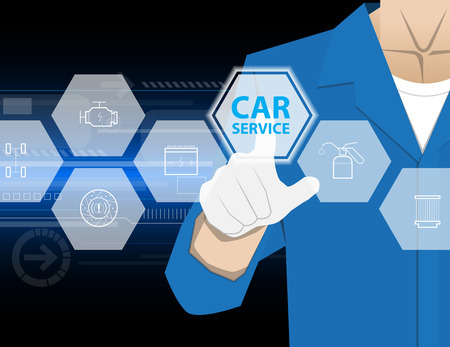 car service,Businessman working with modern virtual technology, hand touching pointing to accident report car, infographic