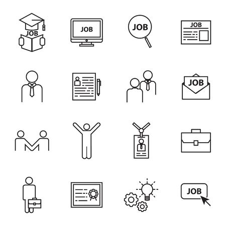 vinden van een baan iconen Stock Illustratie