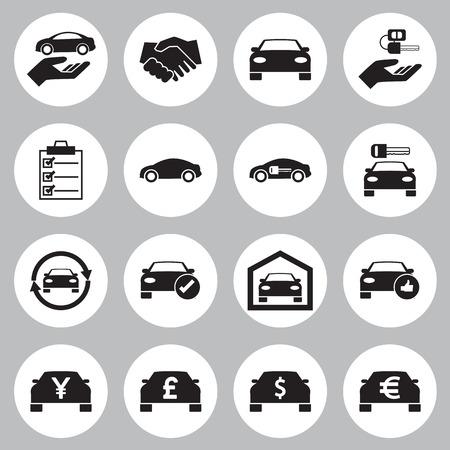 Auto Verkoop en verhuur auto pictogrammen instellen