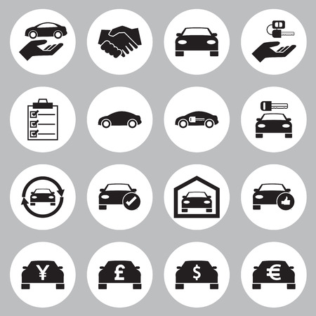 sales manager: Car Sale and rental car icons set