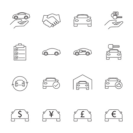 purchasing manager: Car Sale and rental car icons set