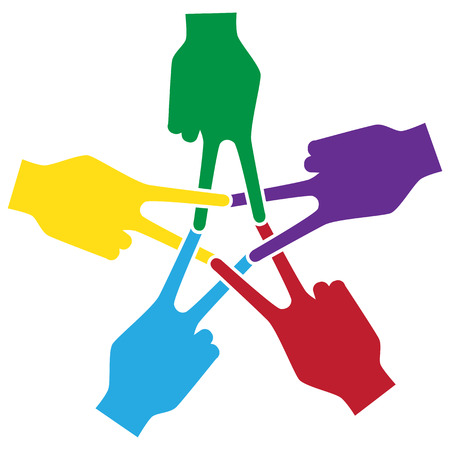 forums: peace,Unity and support symbolic,Hand and finger Actions Mark Forums a pentagram Illustration