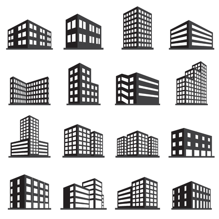 office icons: Buildings icon and office icon set Illustration