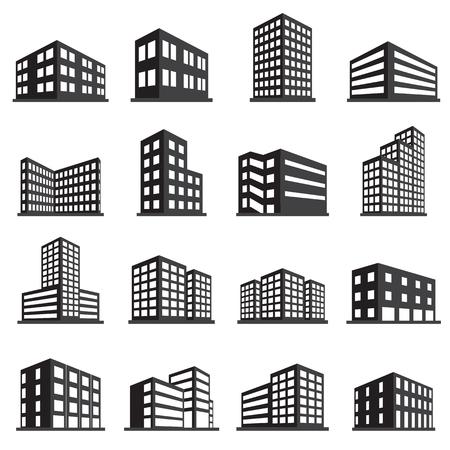 construccion: Edificios icono y la oficina conjunto de iconos