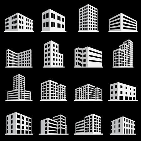 建物アイコン ・ office のアイコンを設定  イラスト・ベクター素材