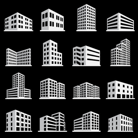 Buildings icon and office icon set Vectores