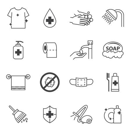 piatto: Icone igiene e pulizia impostare Vettoriali