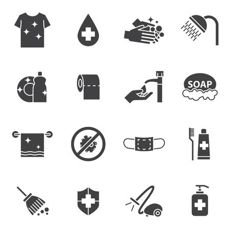 jabon: higiene y limpieza en iconos conjunto Vectores