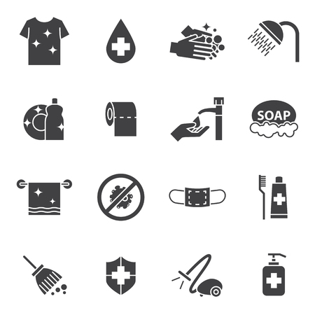 hygiene: hygiene and Cleaning icons set