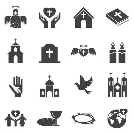 christianity: Christianity  religion icon set Illustration