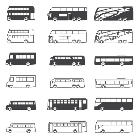 travellers: Bus icon set