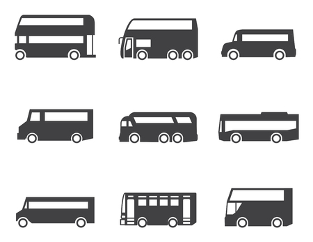 tourists stop: Bus icon set
