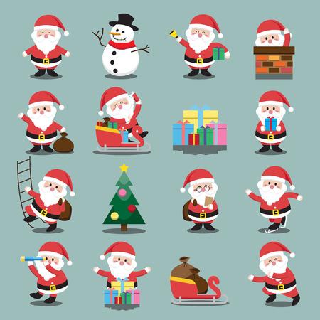 クリスマスのサンタ クロースを設定  イラスト・ベクター素材