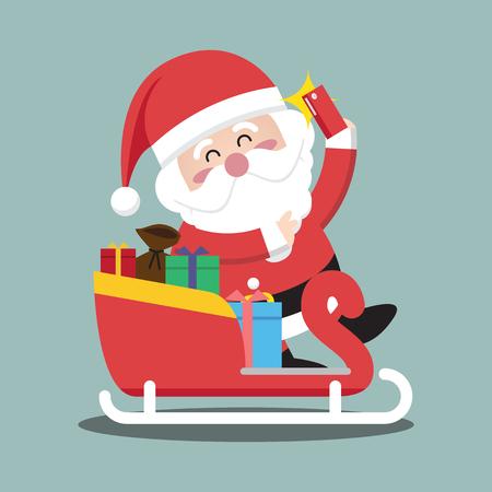Santa Clauses sleigh for christmas character Illustration