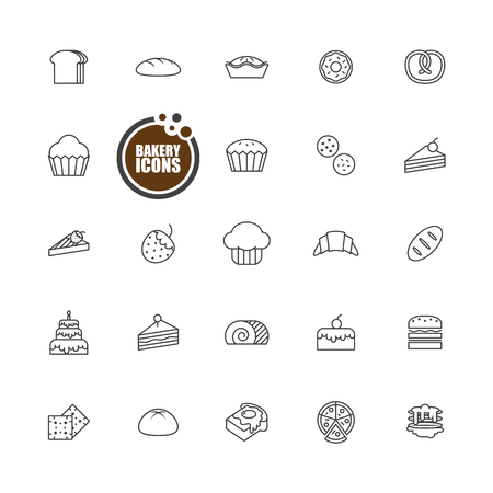 swiss roll: Baked bakery bread  icons line set