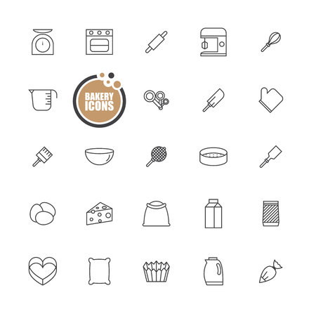 measuring spoon: Bakery equipment icons line set