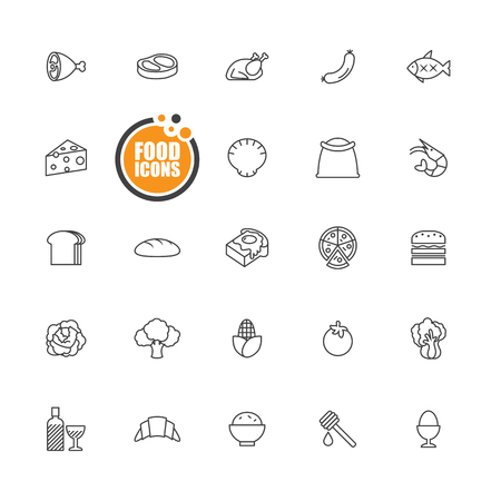 frozen meat: Food icons line set Illustration