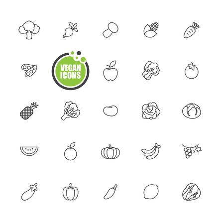 apples and oranges: Vegan and Vegetarian food,Vegetables and fruits icons line set