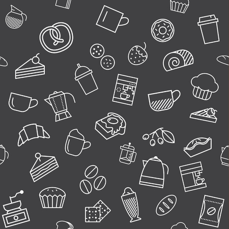food icon: Coffee and bakery, seamless background design