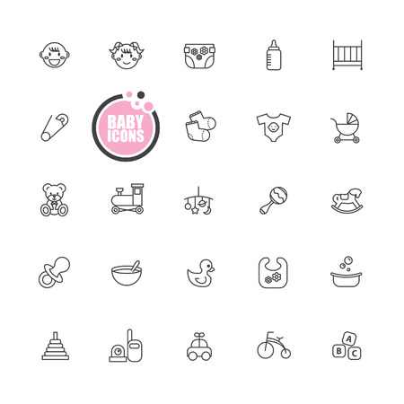 little girl bath: baby and kid  icons Illustration