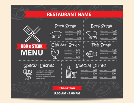 Restaurant BBQ steak menu design