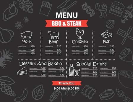 alimentos y bebidas: Diseño del restaurante de barbacoa menú de carne Vectores