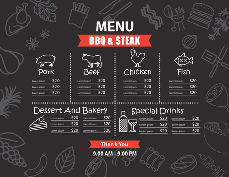 fish steak: Restaurant BBQ steak menu design
