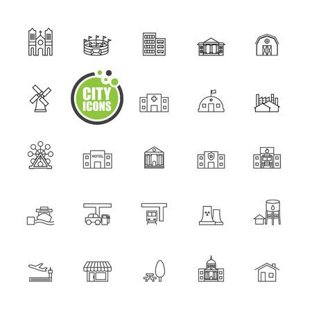 waterworks: Buildings city  vector illustration  set