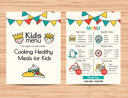 Kids maaltijd menu vector sjabloon, restaurant menu ontwerp