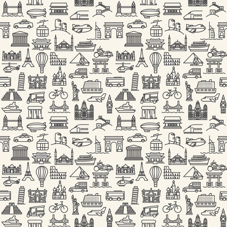 famous places: Seamless vector Wallpapers or background travel, vacation, famous places Transportation and Vehicles icons