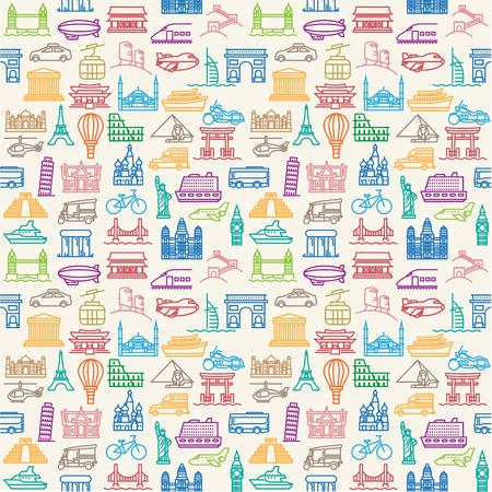 シームレスなベクトルの壁紙や背景旅行、休暇、有名な場所の交通機関、車両アイコン