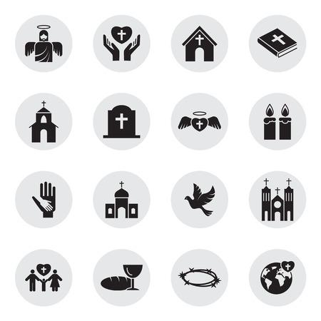 Chrześcijaństwo religią zestaw ikon Ilustracje wektorowe
