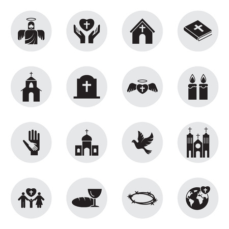 Christianity religion icon set