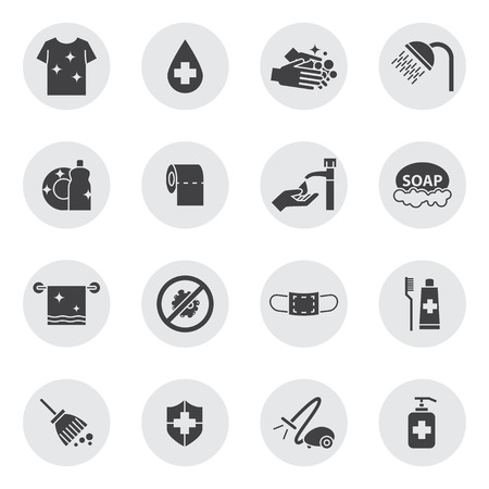 bacteria in heart: hygiene and Cleaning icons set