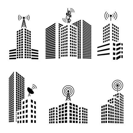 data center: Antennas on buildings in the city icon set