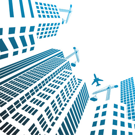 Modern Buildings and office glass Under construction silhouettes of skyscrapers in the city
