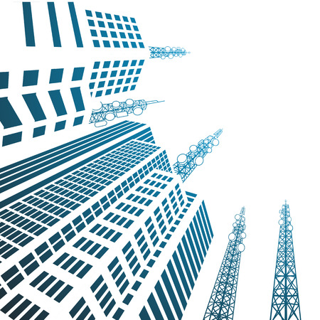 data center: Antennas on buildings in the city Illustration