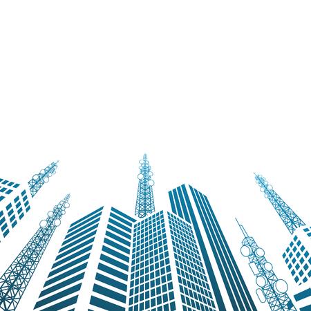 antennas: Antennas on buildings in the city Illustration