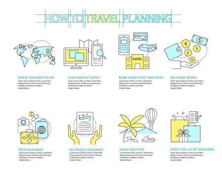 travel icon: Set of Flat line icon & infographic design concept Planning travel Illustration