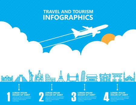 voyage: infographie de voyage, point de repère et de transport