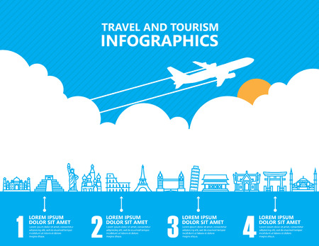 Travel infographics, oriëntatiepunt en transport