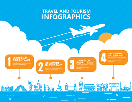 transportes: infografía de viajes, punto de referencia y el transporte Vectores