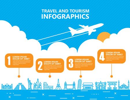 moyens de transport: infographie de voyage, point de repère et de transport