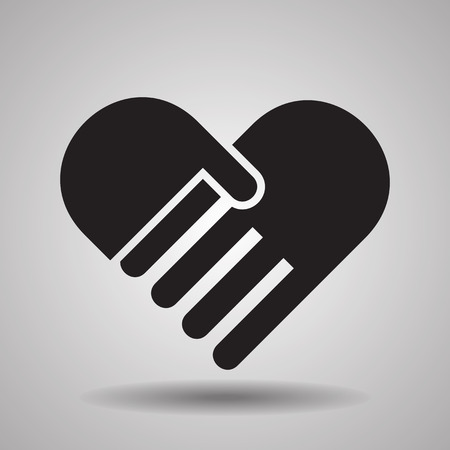 Charity and love, handshake icons