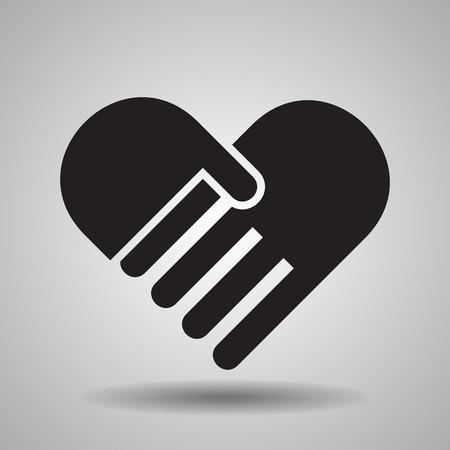 Liefdadigheid en liefde, handdruk iconen