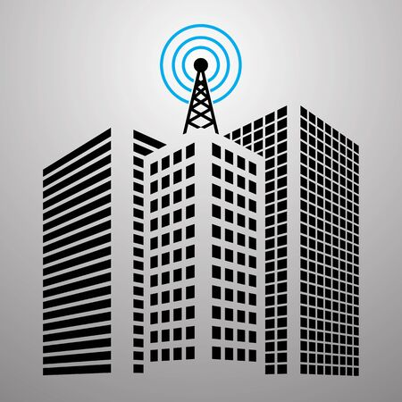 media center: Antennas on buildings in the city icon set