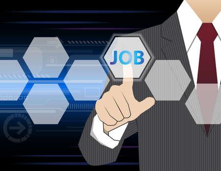 virtual technology: Businessman working with modern virtual technology, hand touching  JOBS Illustration