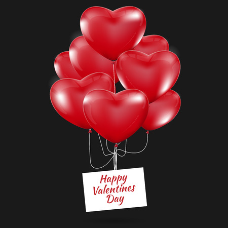 dinner date: Happy Valentines Day, Red heart  balloons  colorful illustration background Illustration